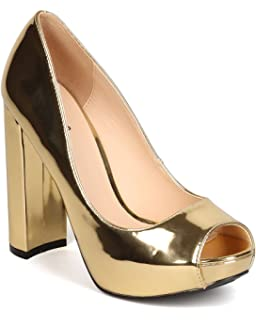 14f3a70c2d9 Qupid Women Metallic Leatherette Peep Toe Platform Block Heel Pump FI98 -  Gold