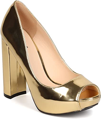 Toe And Heel Gold Pumps