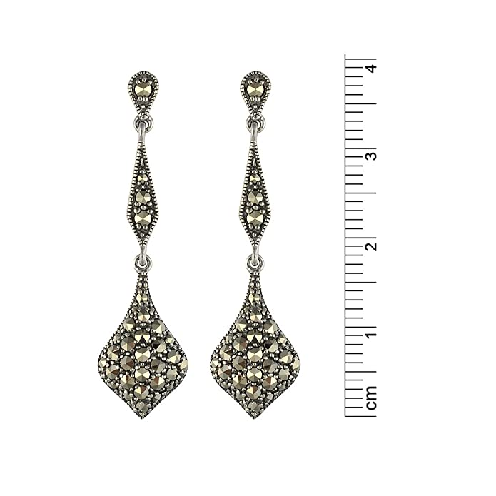 Esse Marcasite Ladies Earrings Sterling Silver 925 marcasite with pave setting, drop shape, 3.8 cm long