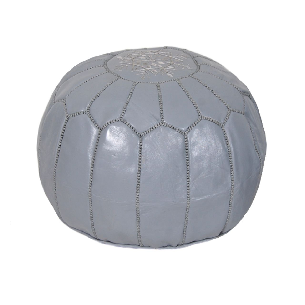 Moroccan Pouf Ottoman Footstool (Leather) Genuine Hand-Stitched Seating | Unstuffed | Living Room, Bedroom, Sitting Area | Grey | Exclusive Designs