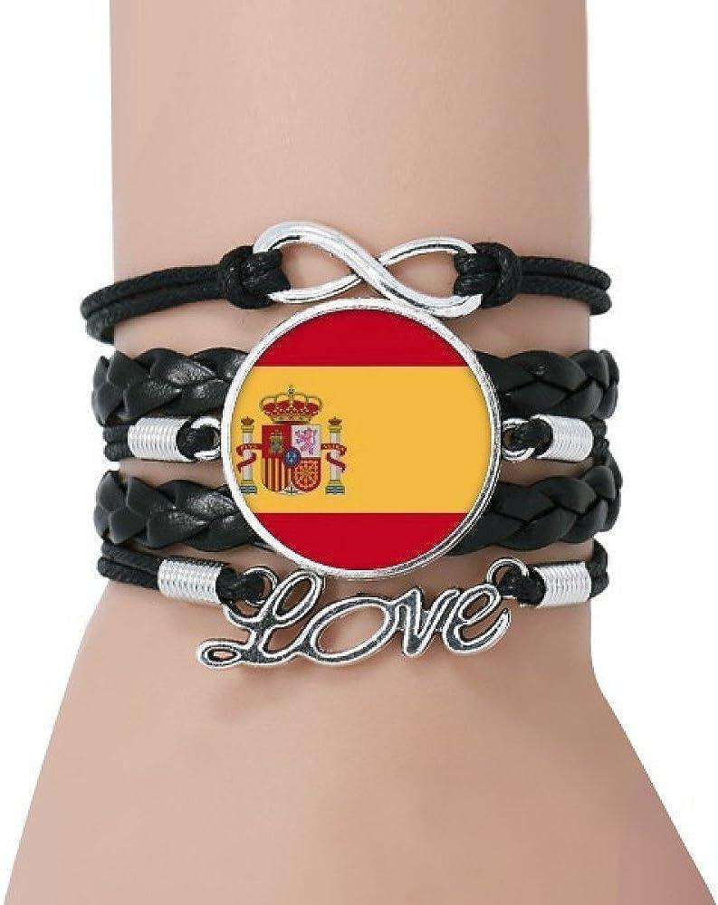 DIYthinker España Nacional a la Bandera Europa País Pulsera Negro retorcido Amor Pulsera de Cuero de la Cuerda: Amazon.es: Joyería