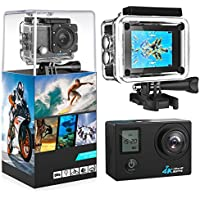 4K Action Camera, 2.0 LCD Display With Front Screen 4K WiFi Ultra HD Waterproof Sport Camera with 160 Wide-Angle Lens, Including Full Accessories Kits and Waterproof Case