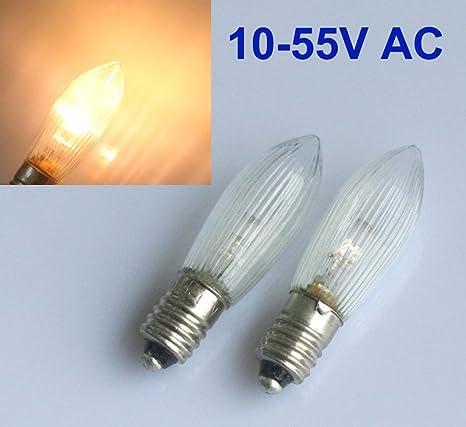 Led Ersatzlampen Für Lichterkette.10 Stuck E10 Led Ersatzlampen Gluhbirnen Topkerze Fur Lichterkette 10v 55v Ac
