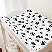 Carousel Designs Onyx Cactus Changing Pad Cover - Organic 100% Cotton Change Pad Cover - Made in The USA