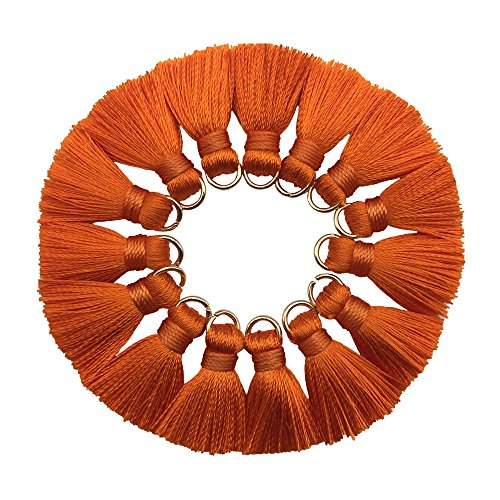 CHENGRUI 2CM Mini Tassels For Jewelry Making,Diy,Jewelry Accessories,Pack of 10 Pcs(Orange)