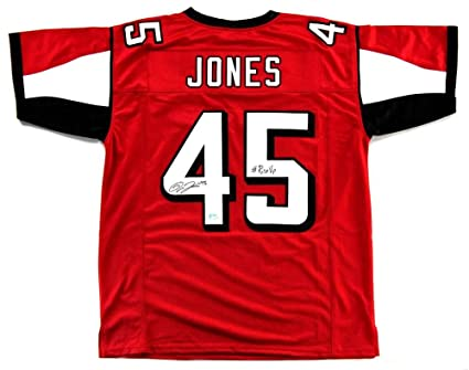 New Deion Jones Signed Atlanta Red Custom Jersey WithRise Up  hot sale