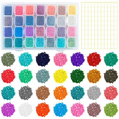 Aneco 28 Colors Replacement Diamond Painting Diamonds with Adjustable 28 Grids Diamond Storage Boxes and 110 Pieces Marker Label for Missing Drills Replacement (Round Diamonds)