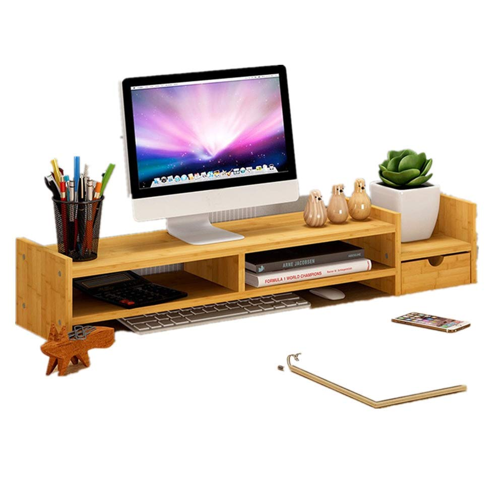 Hstore Bamboo Monitor Stand Riser Laptop TV Stand with 2-Tier Storage Organize Drawers, Adjustable Storage Organizer Laptop Cellphone TV Printer Stand (US Stock)