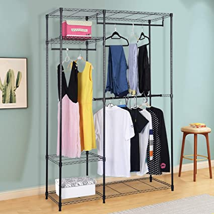 Superieur S AFSTAR Safstar Heavy Duty Clothing Garment Rack Wire Shelving Closet  Clothes Stand Rack Double Rod