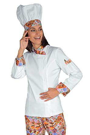 98e63e24a45bd Isacco Women Chef Jacket Snaps Delicious White 100% Cotton: Amazon ...