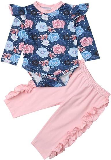 Wang-RX Conjuntos de niña recién Nacida Conjunto de Ropa de algodón para niños Body de Manga Larga Pantalones Largos Leggings Traje de niños: Amazon.es: Ropa y accesorios