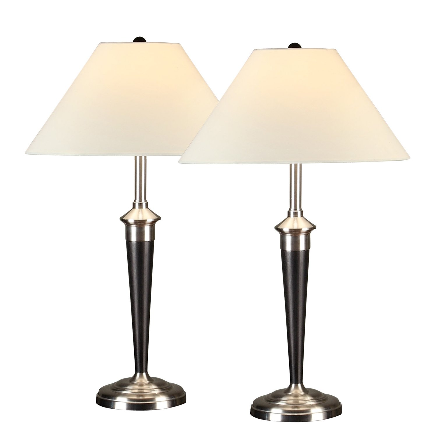 Artiva USA Twin-pack, Classic Cordinates Table Lamps, Quality Brushed Steel and Espresso Finish by Artiva USA