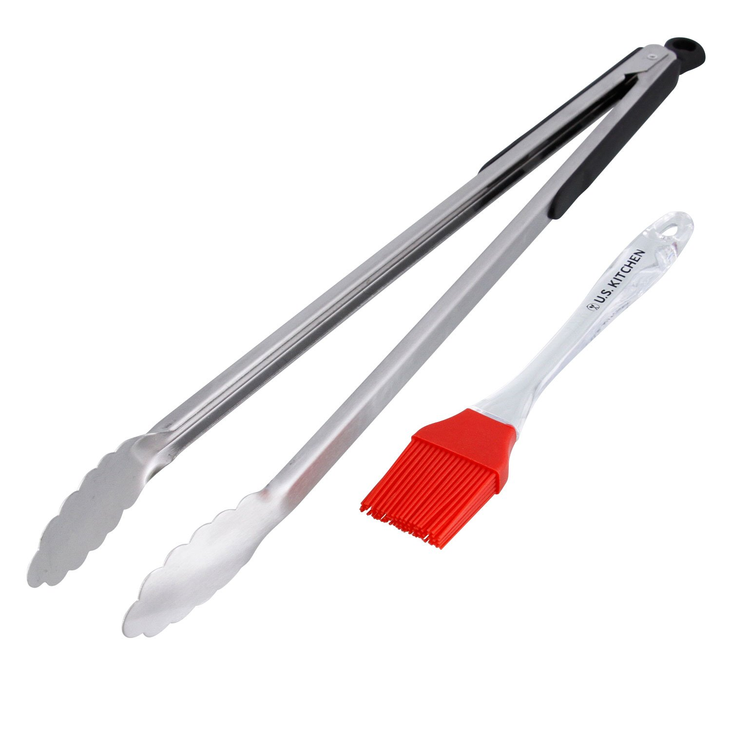 BBQ Masters 2 Piece 18'' Stainless Steel Locking Tongs and Silicone Basting Brush Set - Extra Long Tongs for Safer Barbecue Food Cooking, Grilling, Turning, Flipping and Serving