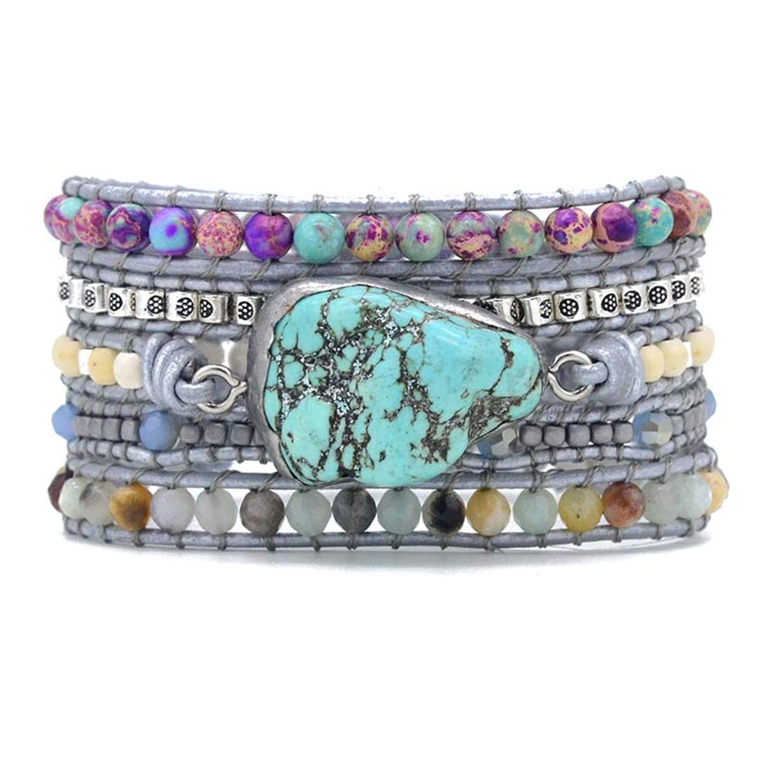 YGLINE Handmade Wrap Bracelet Turquoise, Jasper & Amazonite Natural Stones Leather Charm 5 Strands Boho Bracelet