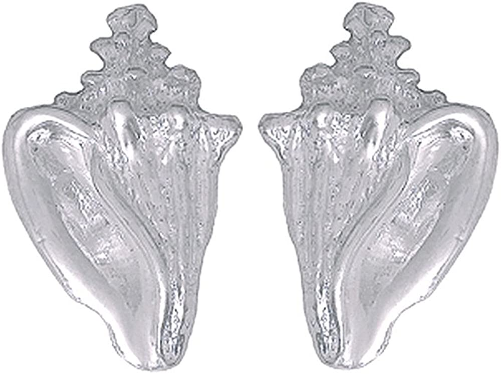 925 Sterling Silver Nautical Conch Shell Post Earrings 2-D