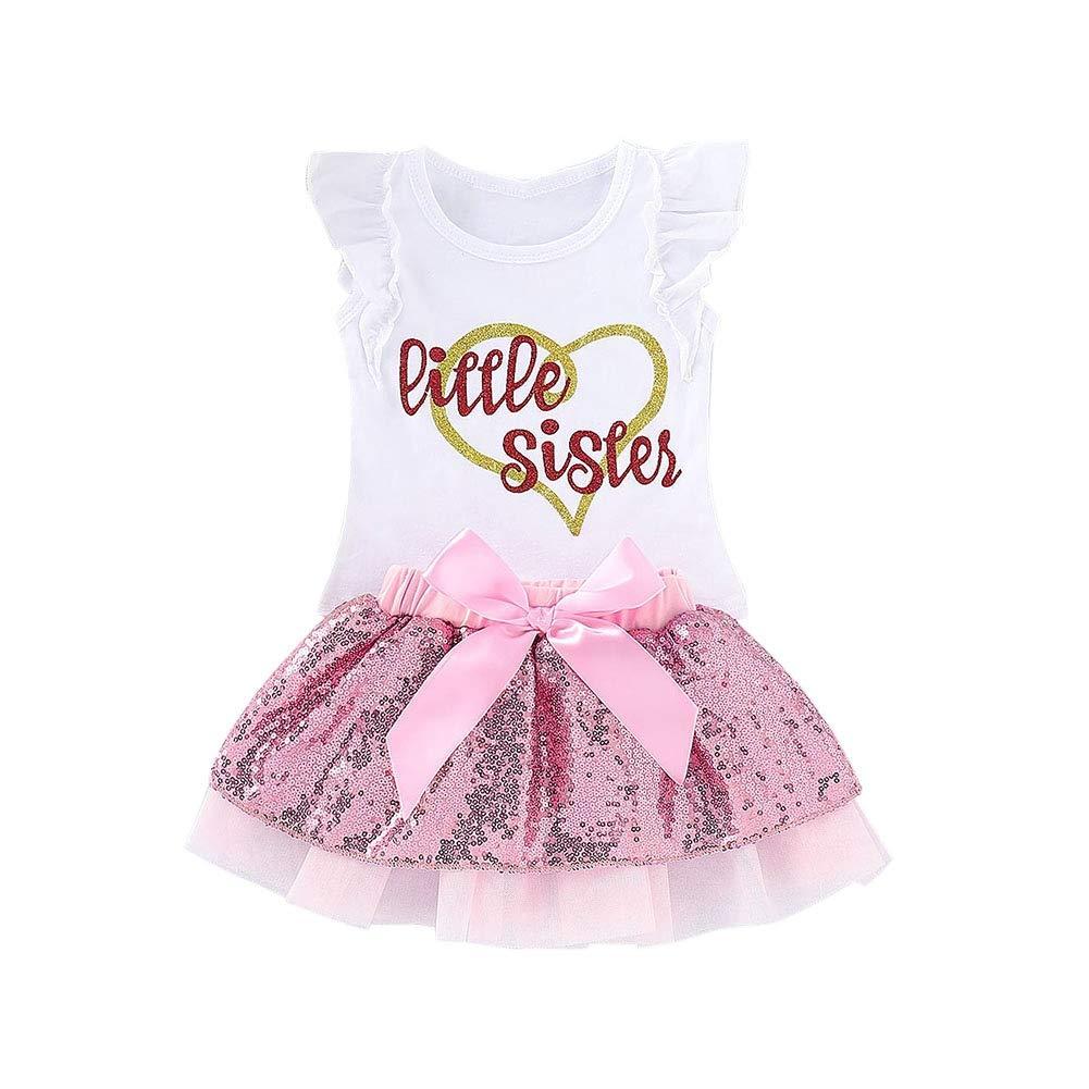 Skirt Set 2 pcs Outfits ESHOO Baby Girls Sequin Skirt Set Infant Toddler Girl Ruffle Sleeve T-Shirt