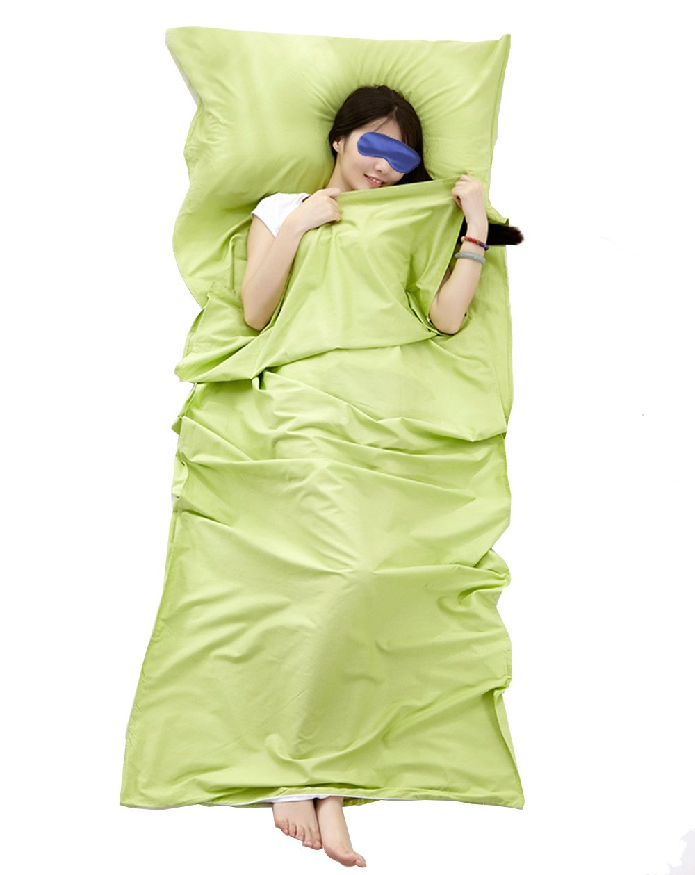 Share Maison 100% Cotton Sleeping Bag Liner Travel Sheet Camping Sleep Sheet Single/Double (Green, 87''x31'') by Share Maison