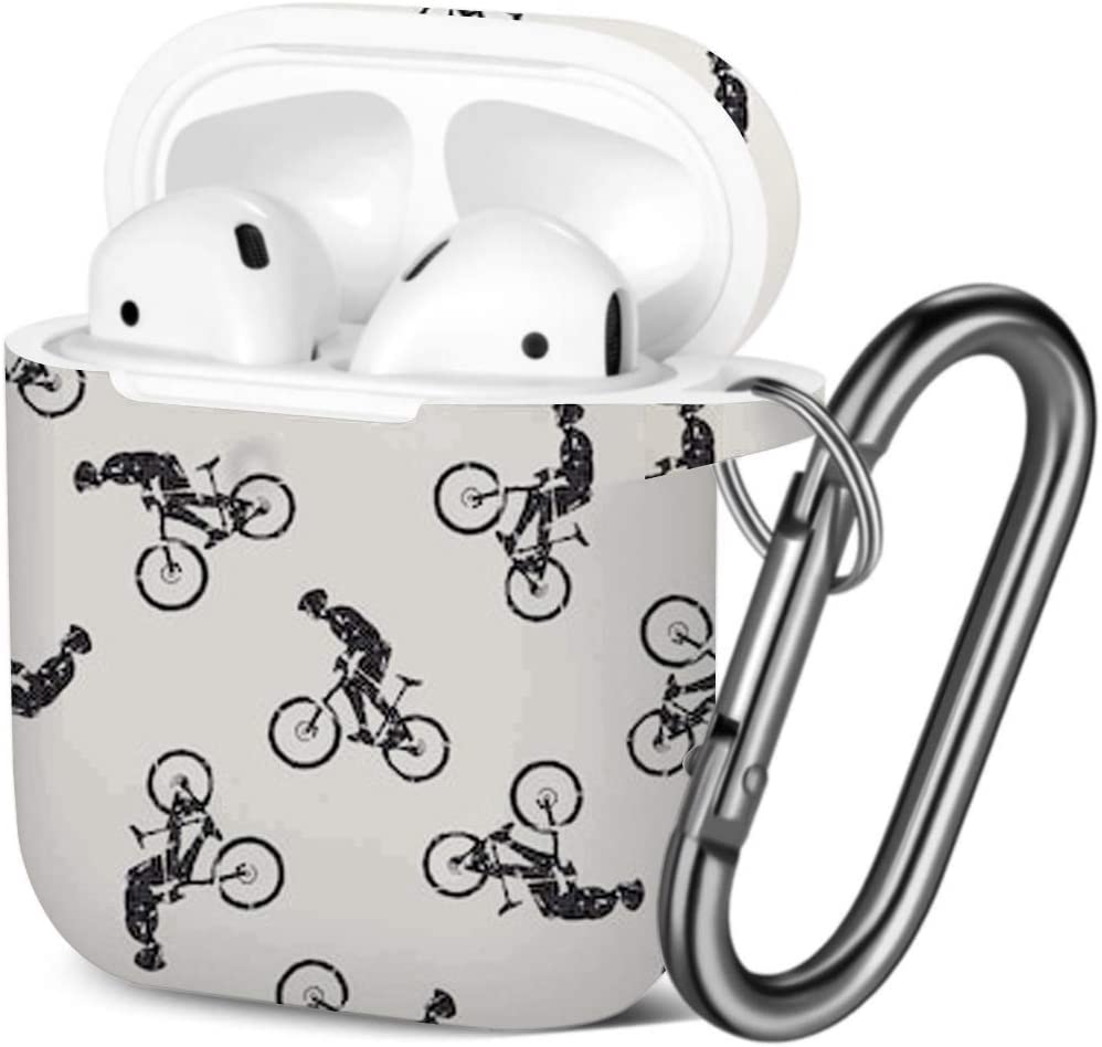 Bike Bikers Man Shockproof Soft TPU Gel Case Cover with Keychain Carabiner for Apple AirPods Compatible with AirPods 2 and 1