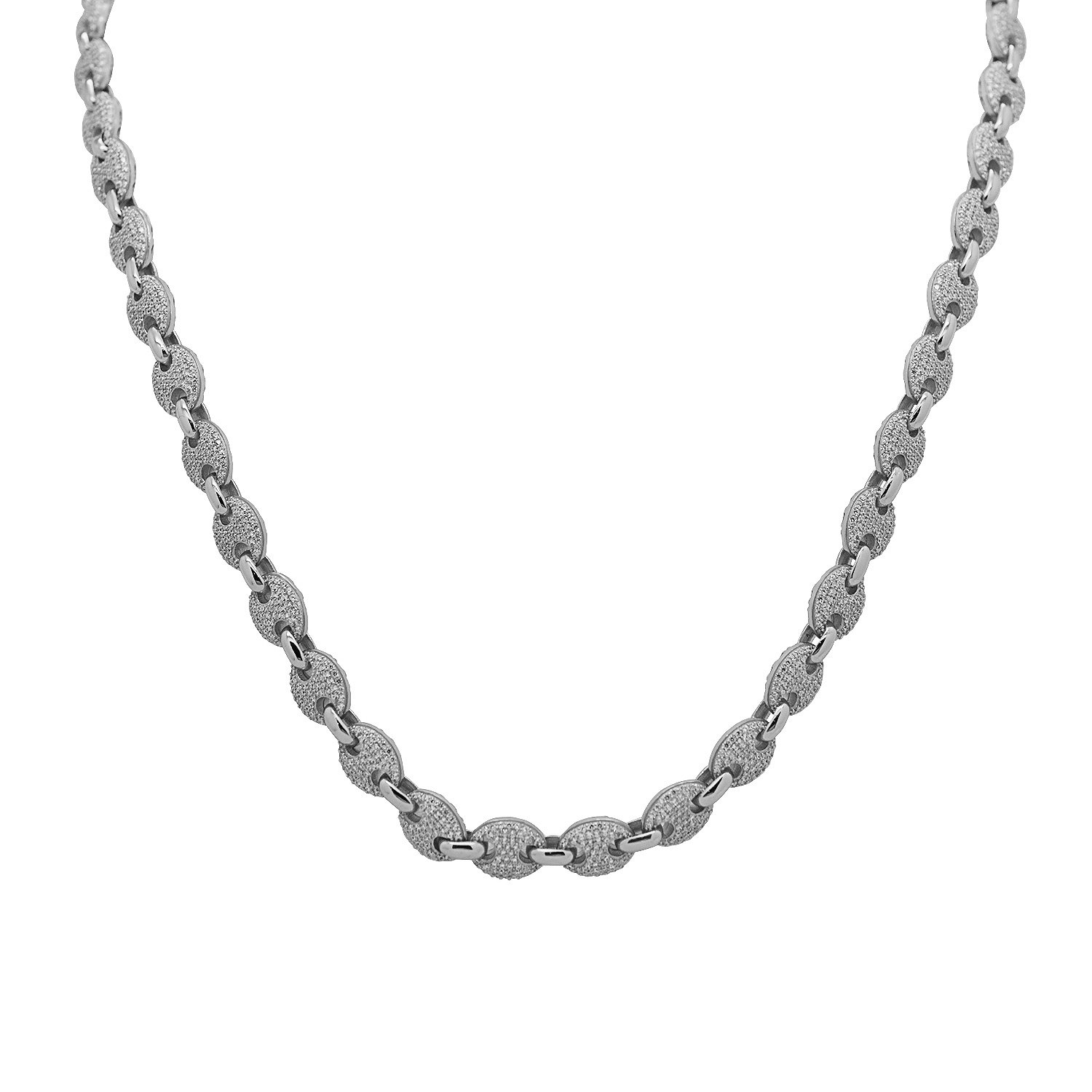 925 Sterling Silver White Gold-Tone Iced Out Hip Hop Bling Cubic Zirconia Gucci-Mariner Bead Link Necklace Chain 30''