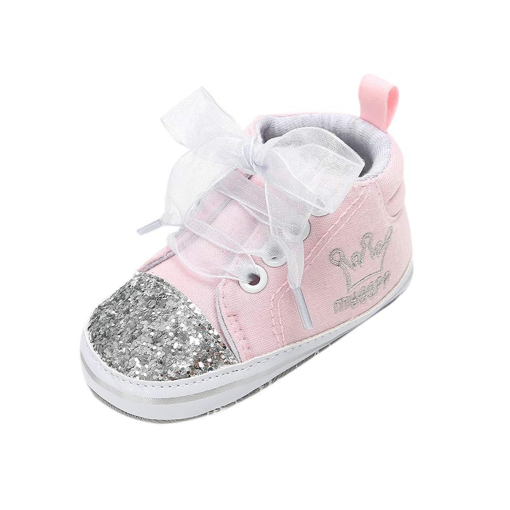 Miyanuby Baskets Bébé Fille,Briller Chaussure à Lacet,Chaussures Premiers Pas pour Bébé 0-6 Mois, 6-12 Mois, 12-18 Mois