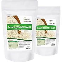 Mynatura Sesam weiß geschält, hohe Qualität ohne Gentechnik und natürlich, vegan und glutenfrei - 2x 1kg Beutel
