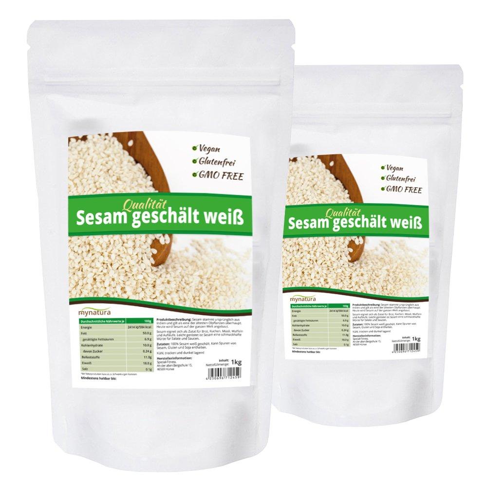 Mynatura Sesam weiß geschält, hohe Qualität ohne Gentechnik und natürlich, Vegan - 2x 1kg Beutel product image
