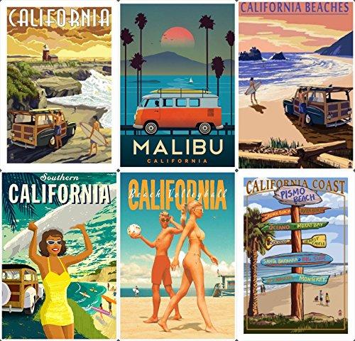 Lot of 6 Retro California Beach USA Fridge magnet collection Gift souvenir