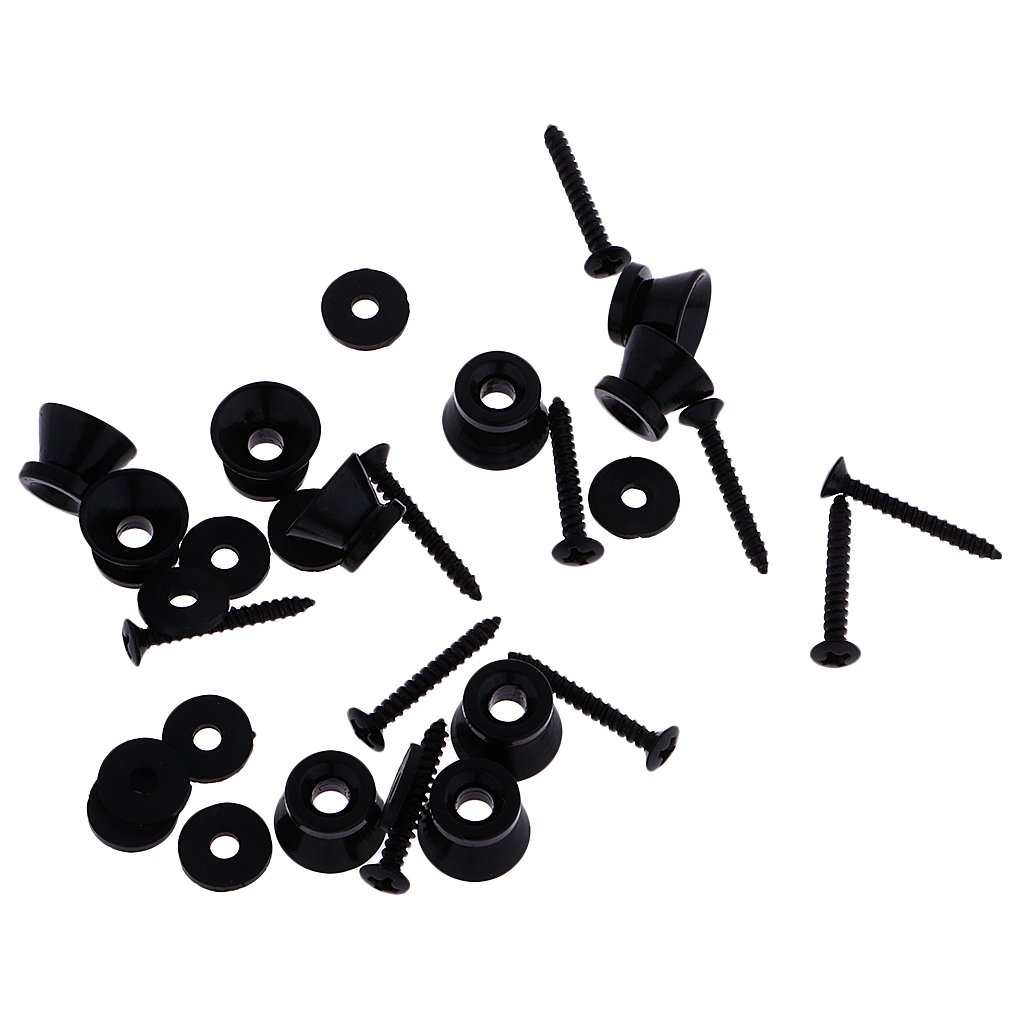 MagiDeal Set de 10 Piezas Guitarra Acústica Eléctrica Cerraduras de Correa Straplocks Botones - Negro: Amazon.es: Instrumentos musicales