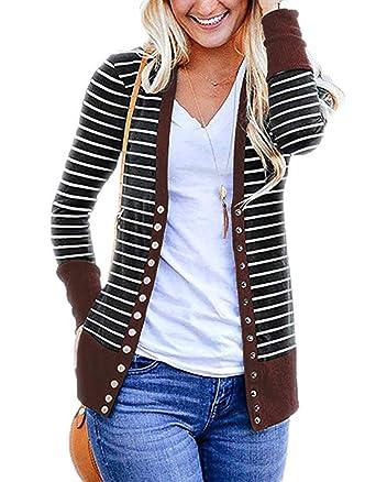 18e07829e Glomeen Womens Striped Snap Button Knit Cardigan Coats Long Sleeve Classic  Outwear Jackets