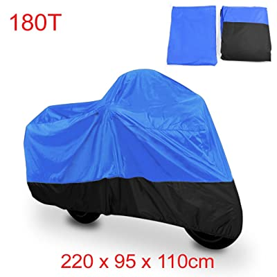 uxcell L 180T Rain Dust Motorcycle Cover Blue&Black Outdoor UV 86inch for Honda Victory Kawasaki Yamaha for Suzuki for Harley Davidson: Automotive