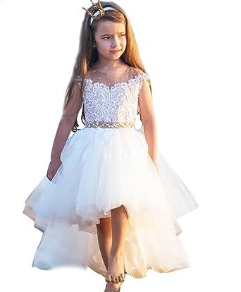 62c7c65da Amazon.com: KSDN Flower Girls Dress Organza Princess High Low Lace Pageant  Ball Gown: Clothing