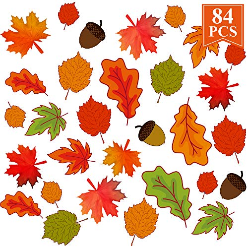 KALEFO Thanksgiving Decorations Fall Window Clings 84ct