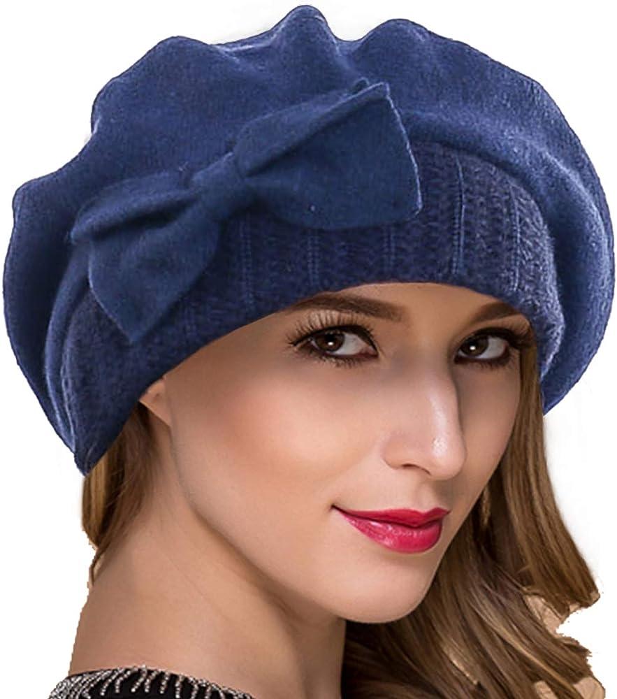 Jazmiu Womens Winter Warm 100/% Wool Beret Beanie Cloche Bucket Hat