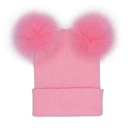 98827c8f58f Amazon.com  Jinjiu Women Winter Warm Crochet Knitted Double Faux Fur Pom Pom  Balls Solid Beanie Cap Hats (Pink)  Arts