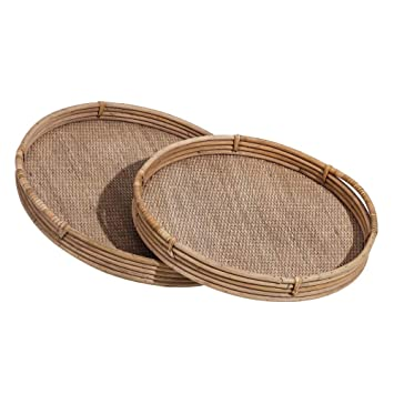 Bandejas Redondas de bambú Natural Marrones rústicas para Comedor Sol Naciente - LOLAhome