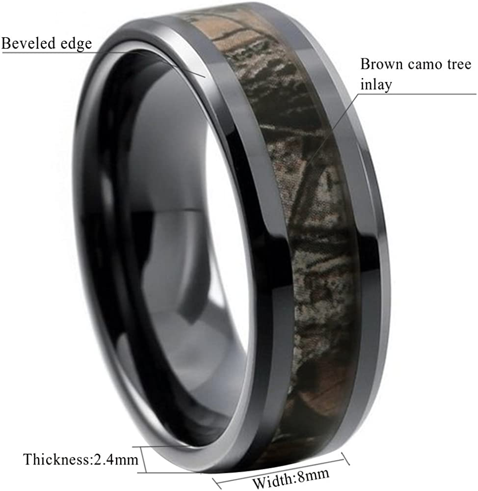 King Will 8mm Mens Black Tungsten Carbide Ring Camo Camouflage