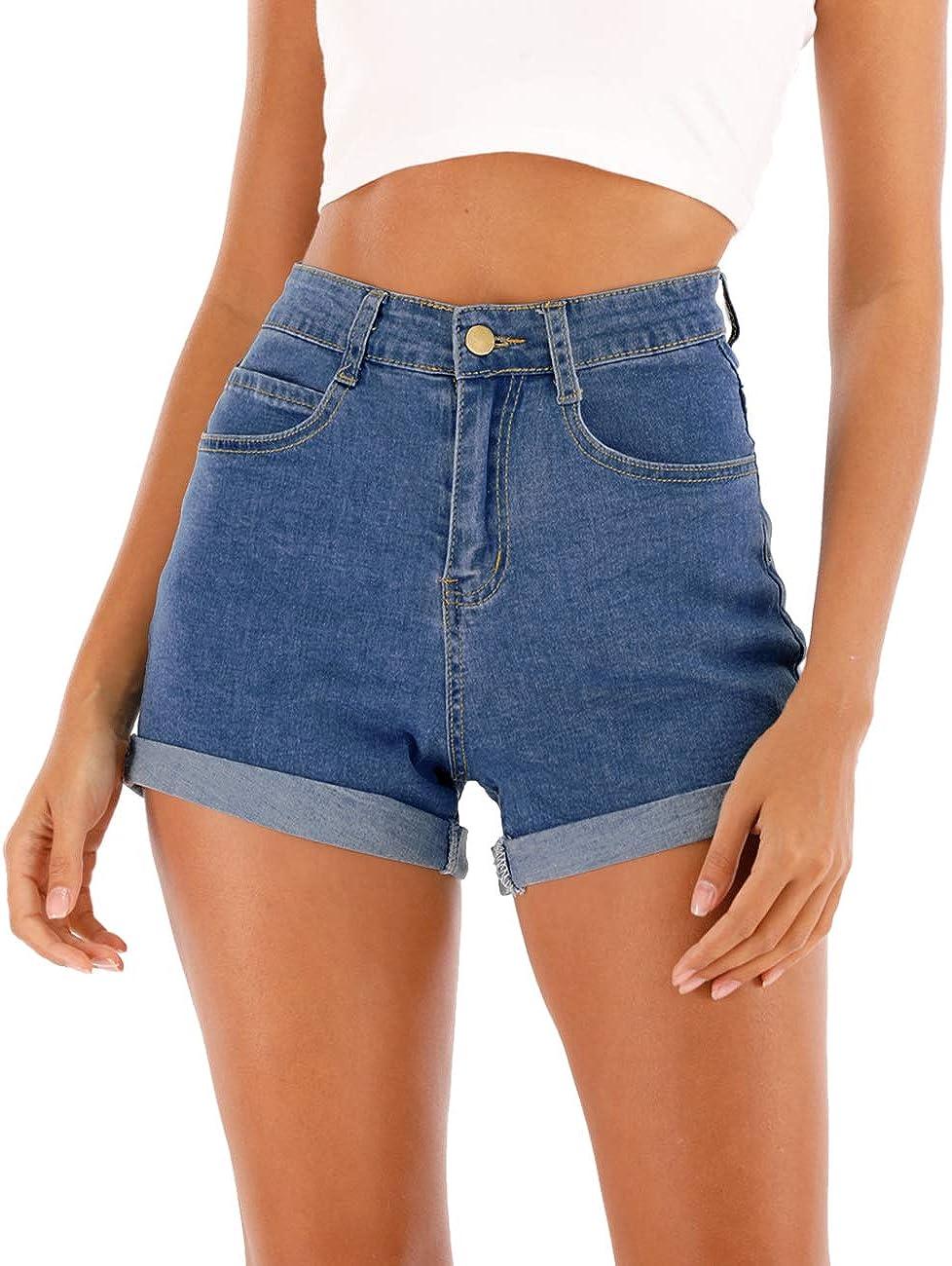 XS V Seam High Waist Medium Wash Denim Shorts
