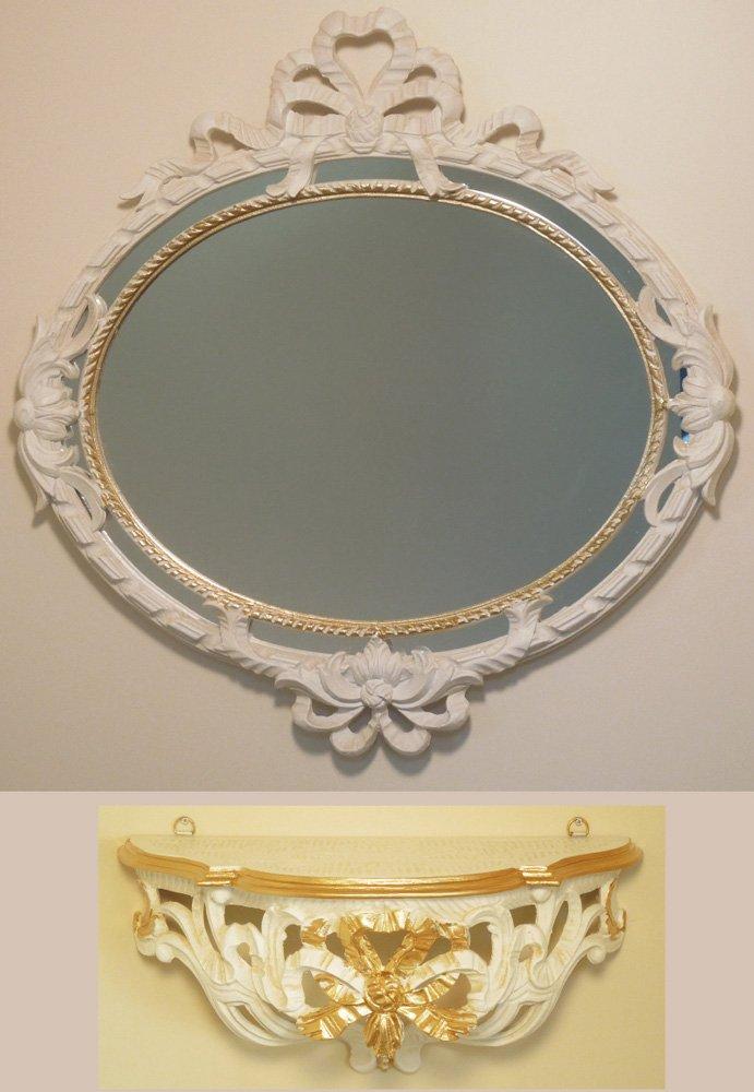 イタリア製 JHAアンティーク風ミラー&コンソール エレガンス リボン柄(アイボリー&ゴールド)上下セット IT-9S 壁掛け鏡 ウォールミラー オーバル ロココ 姫ミラー B00OEQBXTI