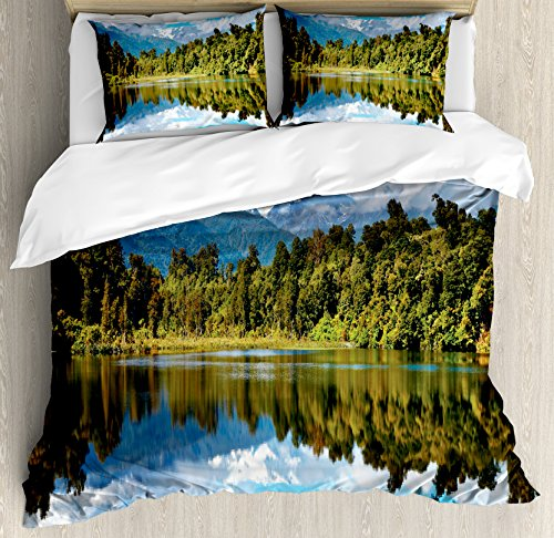 Landscape Duvet Cover Set King Size by Ambesonne, Mirror Reflection on Lake by the Forest with Cloudy Sky in Southern Alps, Decorative 3 Piece Bedding Set with 2 Pillow Shams, Green Blue White by Ambesonne