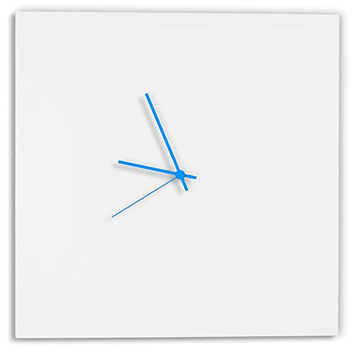 Modern White Clock Whiteout Blue Square Clock Minimalist Metal Wall Clocks, Contemporary Decor – 16in. White w Blue Hands