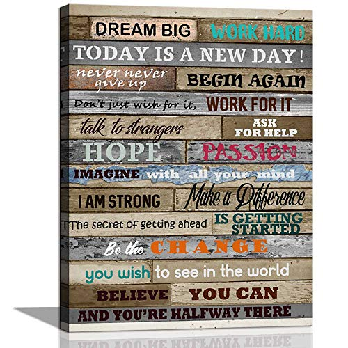 CANVASZON Inspirational Wall Art Motivational Poster Quotes Office Wall Decor for Living Room Bedroom Bathroom Decoration Canvas Print Framed Art Today is A New Day Ready to Hang 12x16inch (Framed Inspirational Art)