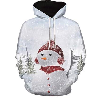 LuckyGirls Sudaderas con Capucha De Navidad para Hombre Mujer Par Estampado De Muñeco De Nieve Abrigos