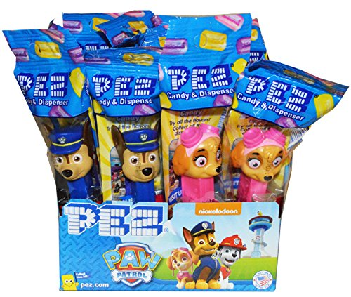 Pez Paw Patrol Dispensers - Individually Wrapped Pez Dispensers with 2 Individually Wrapped Rolls of Candy (12 Pack) (Halloween Candy Party Favors)