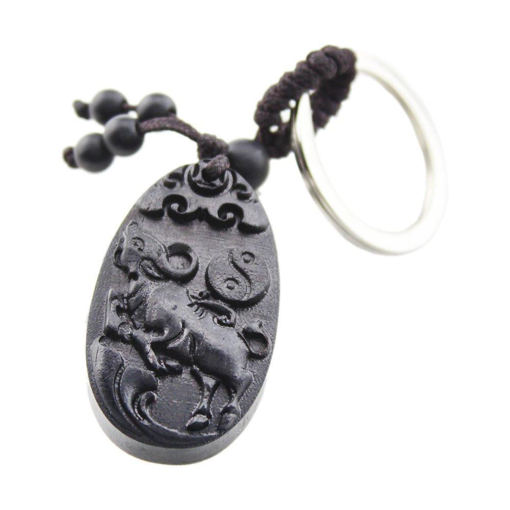 FOY-MALL Chinese Zodiac Ox Ebony Wood Carved Men Women Bag Key Chain for Gift M1101