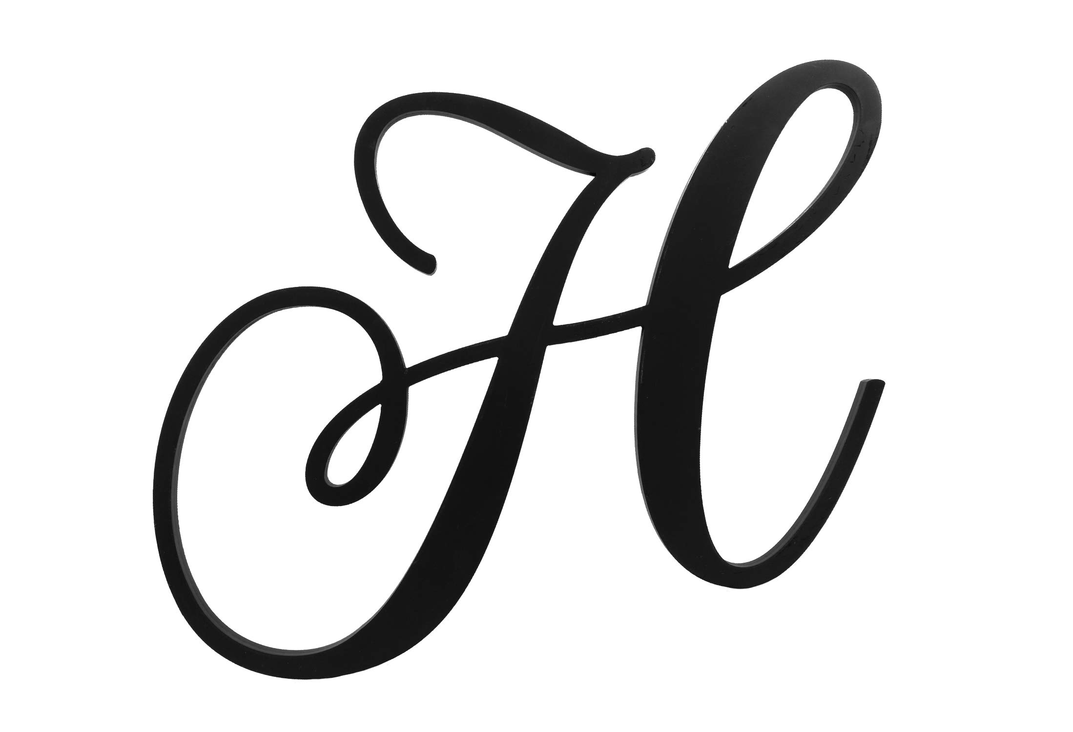 XL Wall Letters Uppercase H | 24'' Wood Paintable Script Capital Letters for Nursery, Home Decor, Wedding Guest Book and More by ROOM STARTERS (H 24'' Black 3/4'' Thick) by ROOM STARTERS (Image #2)