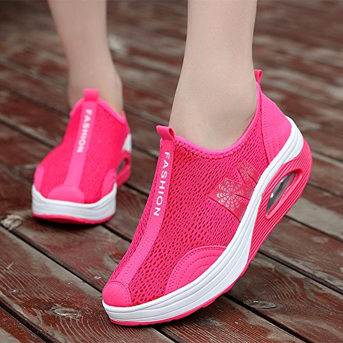 EnllerviiD Women Shape Up Mesh Walking Shoes Slip On Platform Fitness Toning Sneakers 269 Rose yRO8nvcc4