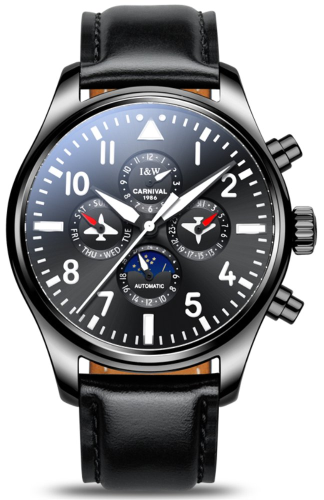 Pilot Men's Complications Analog Automatic Mechanical Watch Luminous Calendar Moon Phase 24-Hours Black (Leather Band Black)