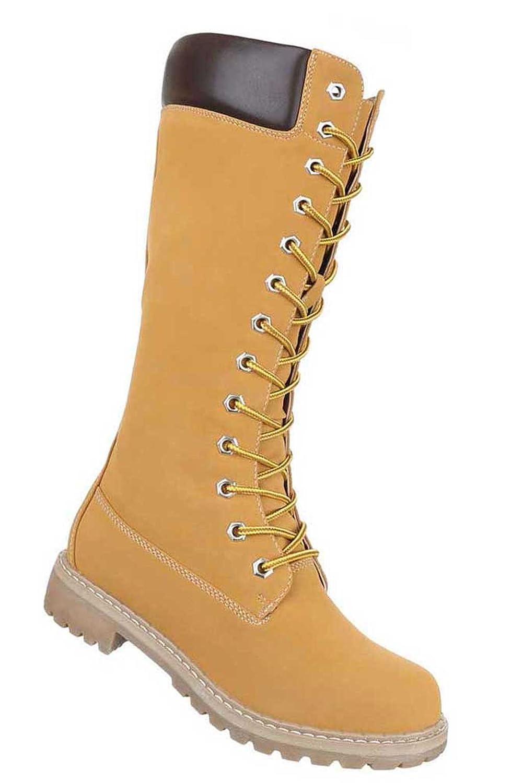 Damen Stiefel Schuhe Schnür Stiefel Schwarz