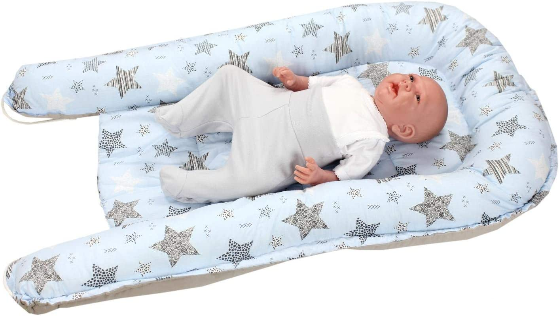 Farbe: Bunte Herzen//Grau Gr/ö/ße: ca 85 x 55 cm TupTam Baby Babynestchen Kuschelnest 2-seitig
