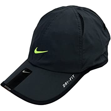 Nike DRI-FIT FEATHERLIGHT RUNNING CAP UNISEX (Dark Grey Lime)   Amazon.co.uk  Sports   Outdoors 47818017d91